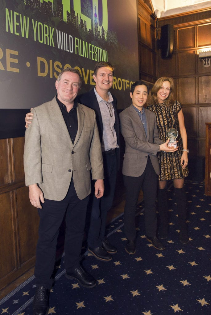 "Joel Sartore, John Bredar, Chun-Wei Yi of ""RARE: Creatures of the Photo Ark,"" 2018 Best Conservation Film with Nancy Rosenthal"